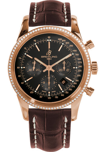 Breitling Watches - Transocean Chronograph Red Gold - Dia Bezel - Croco Strap - Deployant - Style No: RB015253/BB16-croco-brown-deployant