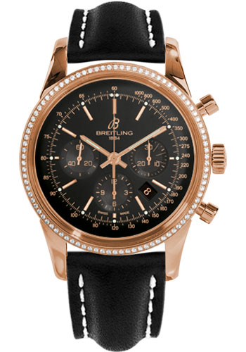 Breitling Watches - Transocean Chronograph Red Gold - Dia Bezel - Leather Strap - Tang - Style No: RB015253/BB16-leather-black-tang