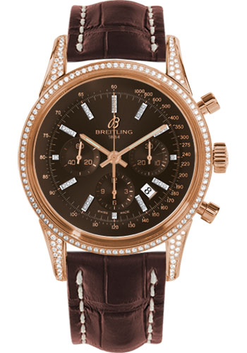 Breitling Watches - Transocean Chronograph Red Gold - Dia Case - Croco Strap - Tang - Style No: RB0152AF/Q596-croco-brown-tang