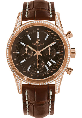 Breitling Watches - Transocean Chronograph Red Gold - Dia Case - Croco Strap - Tang - Style No: RB0152AF/Q596-croco-gold-tang