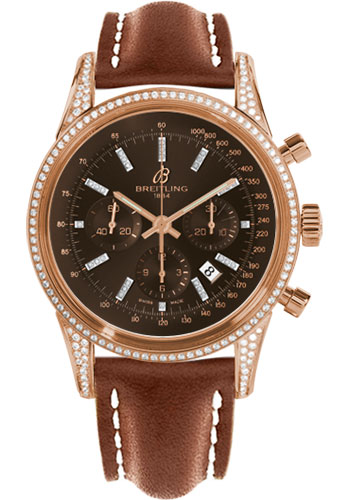 Breitling Watches - Transocean Chronograph Red Gold - Dia Case - Leather Strap - Deployant - Style No: RB0152AF/Q596-leather-gold-deployant