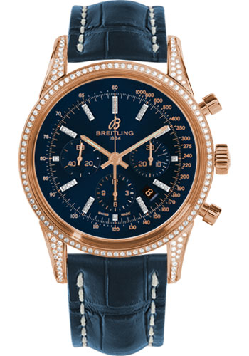 Breitling Watches - Transocean Chronograph Red Gold - Dia Case - Croco Strap - Deployant - Style No: RB0152BF/C861-croco-blue-deployant