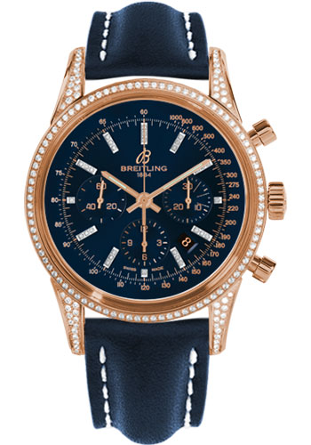 Breitling Watches - Transocean Chronograph Red Gold - Dia Case - Leather Strap - Deployant - Style No: RB0152BF/C861-leather-blue-deployant