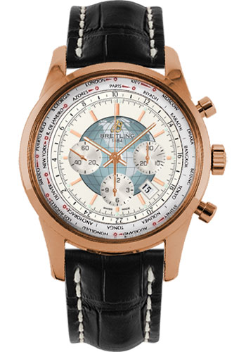 Breitling Watches - Transocean Chronograph Unitime Red Gold - Croco Strap - Style No: RB0510U0/A733-croco-black-deployant