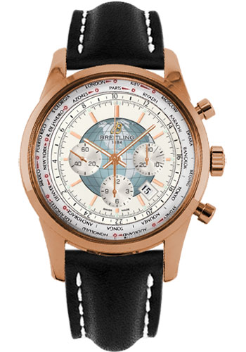 Breitling Watches - Transocean Chronograph Unitime Red Gold - Leather Strap - Style No: RB0510U0/A733-leather-black-deployant