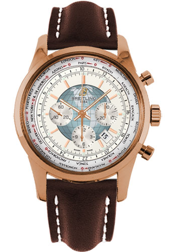 Breitling Watches - Transocean Chronograph Unitime Red Gold - Leather Strap - Style No: RB0510U0/A733-leather-brown-deployant