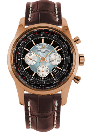 Breitling Watches - Transocean Chronograph Unitime Red Gold - Croco Strap - Style No: RB0510U4/BB63-croco-brown-deployant