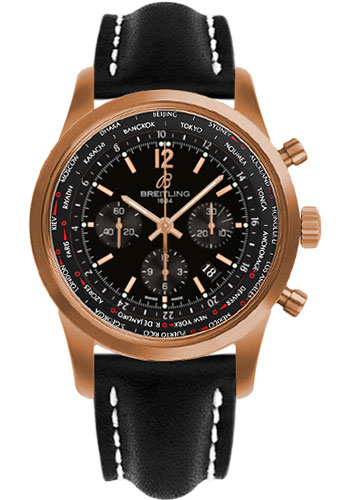 Breitling Watches - Transocean Unitime Pilot Satin Red Gold - Leather Strap - Style No: RB0510U5/BC39-leather-black-deployant