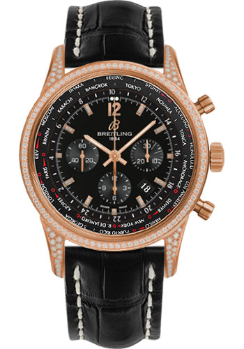 Breitling Watches - Transocean Unitime Pilot Red Gold Diamonds - Croco Strap - Style No: RB0510U7/BC75-croco-black-deployant