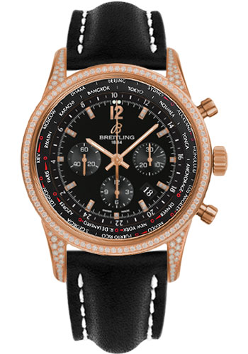 Breitling Watches - Transocean Unitime Pilot Red Gold Diamonds - Leather Strap - Style No: RB0510U7/BC75-leather-black-deployant