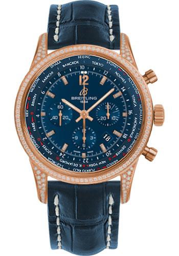 Breitling Watches - Transocean Unitime Pilot Red Gold Diamonds - Croco Strap - Style No: RB0510U8/C881-croco-blue-deployant