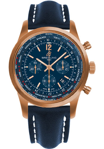 Breitling Watches - Transocean Unitime Pilot Satin Red Gold - Leather Strap - Style No: RB0510V1/C880-leather-blue-deployant