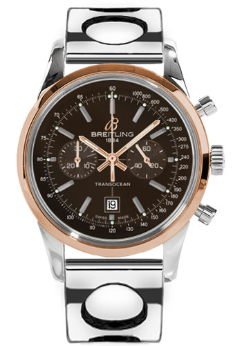 Breitling Watches - Transocean Chronograph 38 Steel And Gold - Air Racer Bracelet - Style No: U4131012/Q600-air-racer-steel