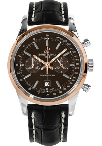 Breitling Watches - Transocean Chronograph 38 Steel And Gold - Croco Strap - Deployant - Style No: U4131012/Q600-croco-black-deployant