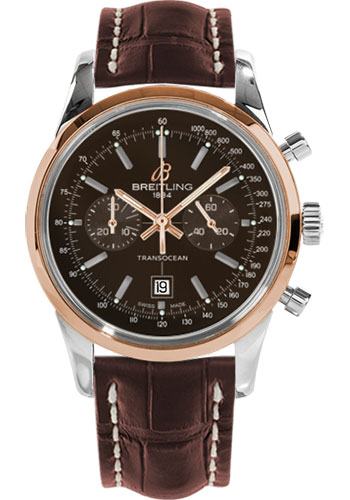 Breitling Watches - Transocean Chronograph 38 Steel And Gold - Croco Strap - Deployant - Style No: U4131012/Q600-croco-brown-deployant