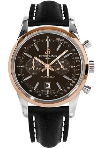 Breitling Watches - Transocean Chronograph 38 Steel And Gold - Leather Strap - Tang - Style No: U4131012/Q600-leather-black-tang