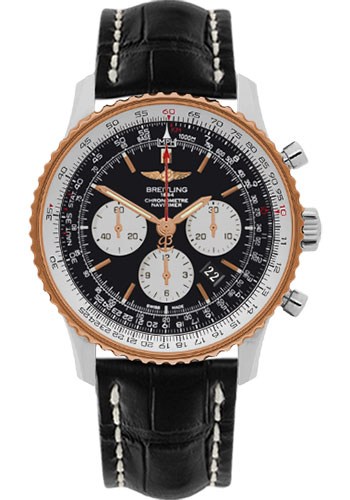 Breitling Watches - Navitimer 01 46mm - Steel and Gold - Croco Strap - Deployant - Style No: UB012721/BE18-croco-black-deployant