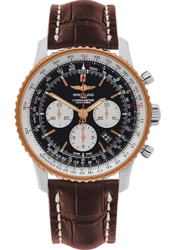 Breitling Watches - Navitimer 01 46mm - Steel and Gold - Croco Strap - Deployant - Style No: UB012721/BE18-croco-brown-deployant