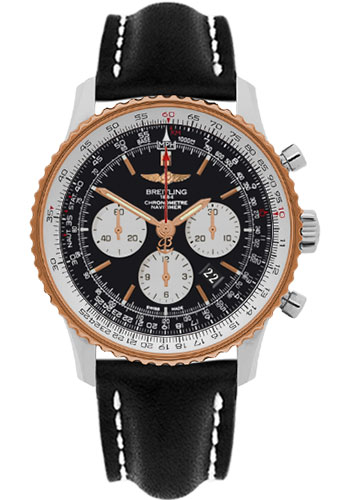 Breitling Watches - Navitimer 01 46mm - Steel and Gold - Leather Strap - Tang - Style No: UB012721/BE18-leather-black-tang