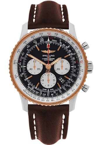 Breitling Watches - Navitimer 01 46mm - Steel and Gold - Leather Strap - Tang - Style No: UB012721/BE18-leather-brown-tang