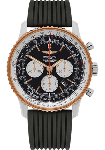 Breitling Watches - Navitimer 01 46mm - Steel and Gold - Rubber Strap - Style No: UB012721/BE18-rubber-black-deployant