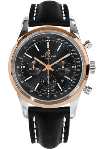 Breitling Watches - Transocean Chronograph Steel and Gold - Leather Strap - Tang - Style No: UB015212/BC74-leather-black-tang