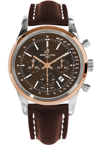 Breitling Watches - Transocean Chronograph Steel and Gold - Leather Strap - Tang - Style No: UB015212/Q594-leather-brown-tang