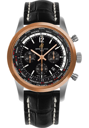 Breitling Watches - Transocean Unitime Pilot Steel and Red Gold - Croco Strap - Tang - Style No: UB0510U4/BC26-croco-black-tang