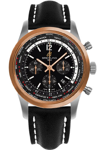 Breitling Watches - Transocean Unitime Pilot Steel and Red Gold - Leather Strap - Deployant - Style No: UB0510U4/BC26-leather-black-deployant