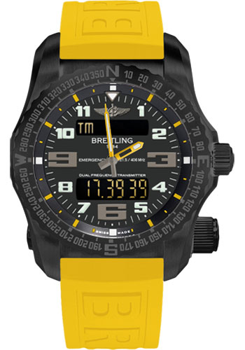 Breitling Watches - Emergency Black Titanium - Diver Pro III Strap - Style No: V76325A4/BC46-twinpro-yellow-black-deployant