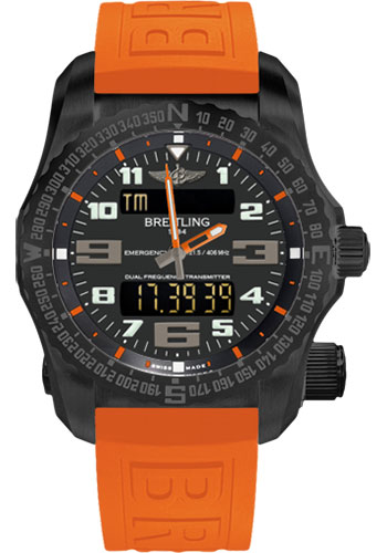 Breitling Watches - Emergency Black Titanium - Diver Pro III Strap - Style No: V76325A5/BC46-twinpro-orange-black-deployant