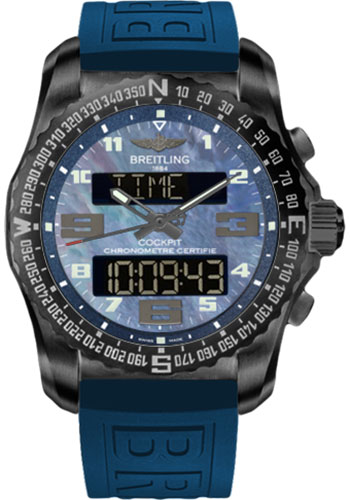 Breitling Watches - Cockpit B50 Black Titanium Case - TwinPro Strap - Style No: VB501019/C932-twinpro-mariner-blue-black-deployant