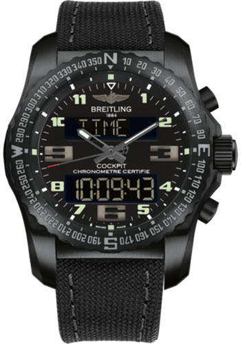 Breitling Watches - Cockpit B50 Black Titanium Case - Military Strap - Style No: VB501022/BD41-military-anthracite-tang