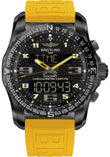 Breitling Watches - Cockpit B50 Black Titanium Case - TwinPro Strap - Style No: VB5010A4/BD41-twinpro-yellow-black-deployant