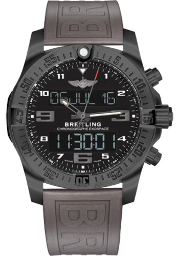 Breitling Watches - Exospace B55 Black Titanium - Twin Pro Strap - Style No: VB5510H1/BE45-twinpro-grey-black-pushbutton-folding