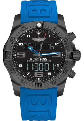 Breitling Watches - Exospace B55 Black Titanium - Twin Pro Strap - Style No: VB5510H2/BE45-twinpro-blue-black-pushbutton-folding