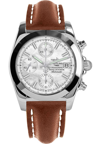 Breitling Watches - Chronomat 38 Tungsten Bezel - Leather - Deployant - Style No: W1331012/A774-leather-gold-folding