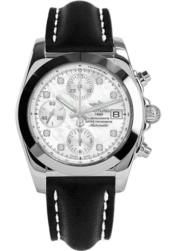 Breitling Watches - Chronomat 38 Tungsten Bezel - Leather - Deployant - Style No: W1331012/A776-leather-black-folding