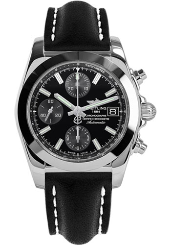 Breitling Watches - Chronomat 38 Tungsten Bezel - Leather - Tang - Style No: W1331012/BD92-leather-black-tang