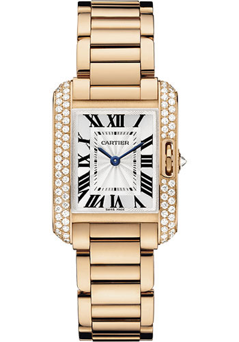 Cartier Watches - Tank Anglaise Pink Gold With Diamonds - Style No: WT100002