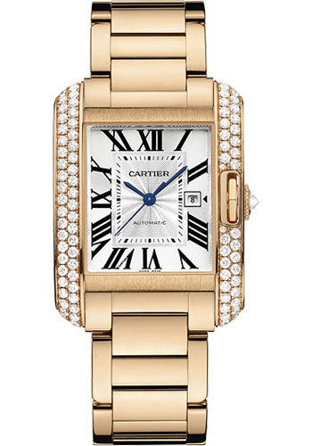 Cartier Watches - Tank Anglaise Pink Gold With Diamonds - Style No: WT100003