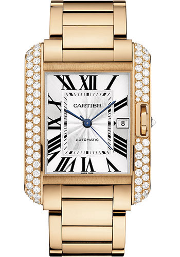 Cartier Watches - Tank Anglaise Pink Gold With Diamonds - Style No: WT100004