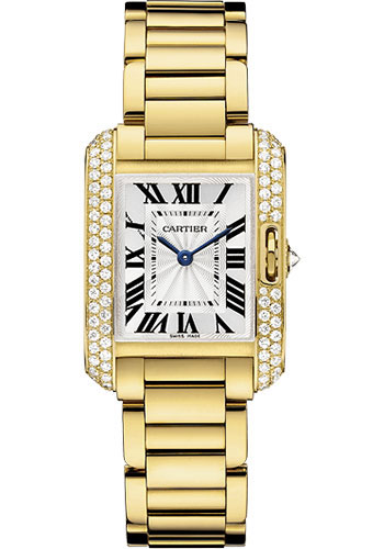 Cartier Watches - Tank Anglaise Yellow Gold With Diamonds - Style No: WT100005