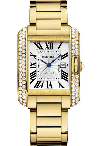 Cartier Watches - Tank Anglaise Yellow Gold With Diamonds - Style No: WT100006