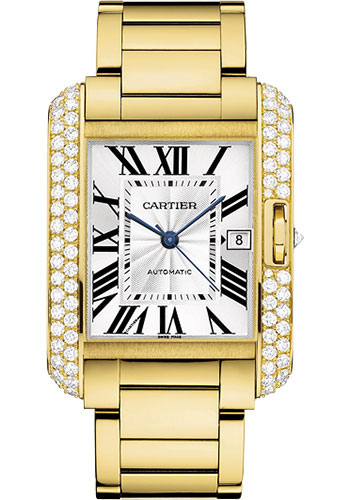 Cartier Watches - Tank Anglaise Yellow Gold With Diamonds - Style No: WT100007