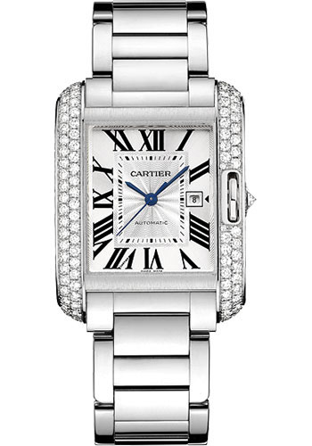 Cartier Watches - Tank Anglaise White Gold With Diamonds - Style No: WT100009