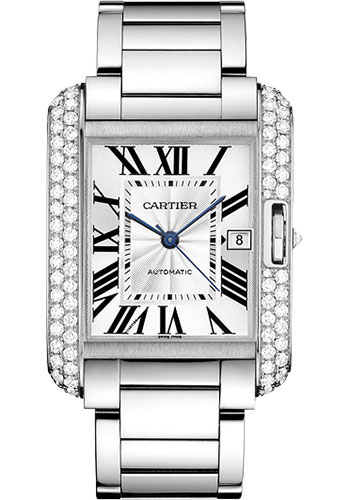 Cartier Watches - Tank Anglaise White Gold With Diamonds - Style No: WT100010