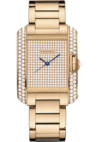 Cartier Watches - Tank Anglaise Pink Gold With Diamonds - Style No: WT100012