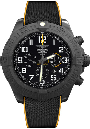 Breitling Watches - Avenger Hurricane Military Rubber Strap - Style No: XB0170E4/BF29-military-rubber-anthracite-yellow-folding