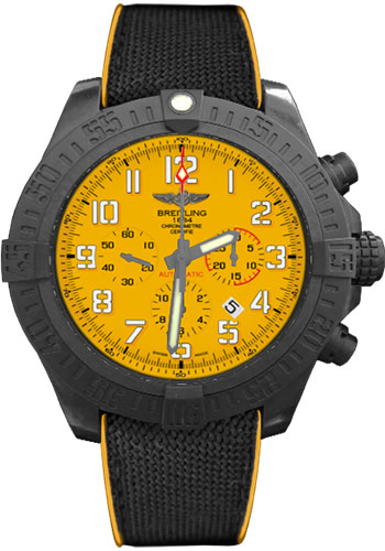 Breitling Watches - Avenger Hurricane 50mm - Military Rubber Strap - Style No: XB0170E4/I533-military-rubber-anthracite-yellow-folding